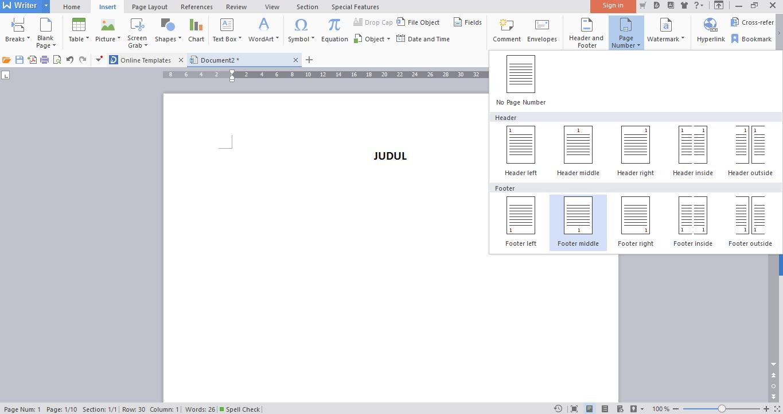 Cara Membuat Halaman Berbeda Dalam Satu File Di Wps Writer Let S