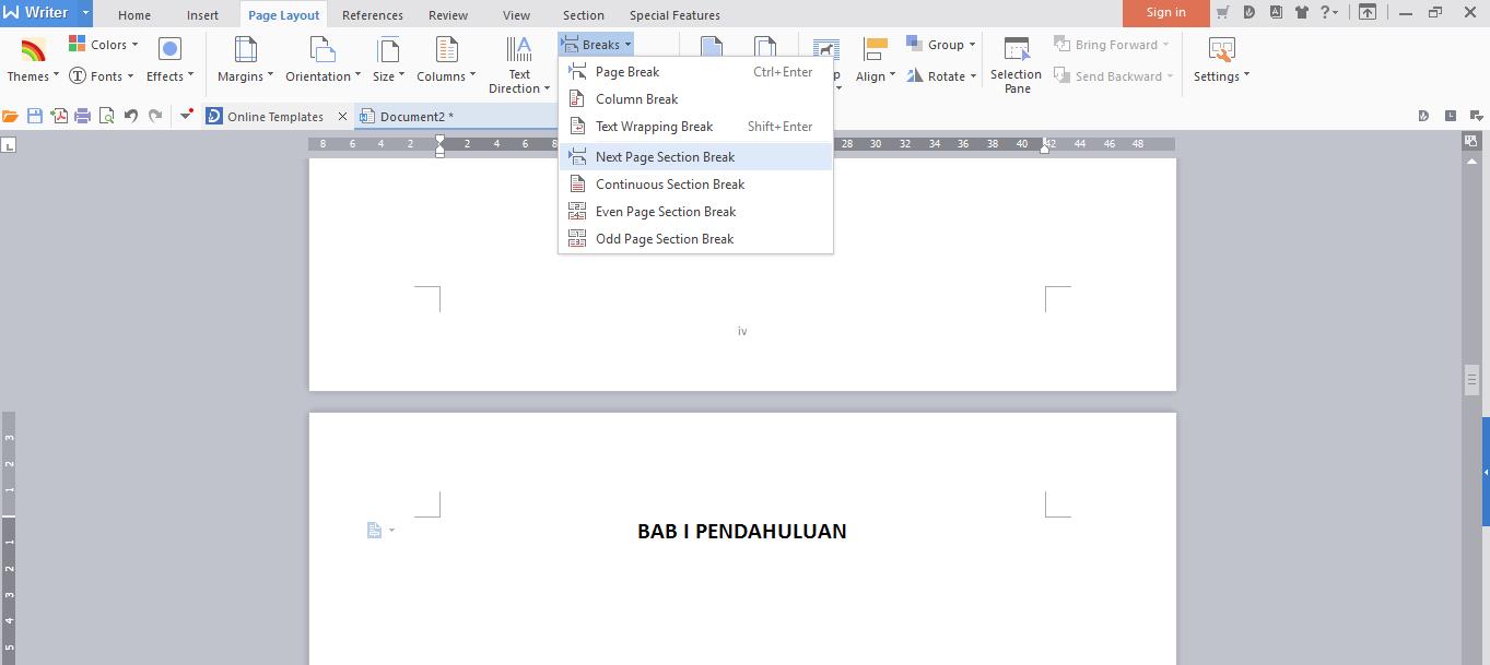Cara Membuat Halaman Berbeda Dalam Satu File Di Wps Writer Let S Share Good Things